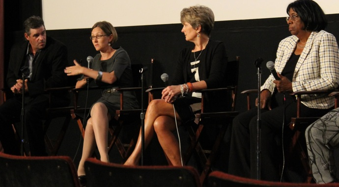 "A panel discussion followed the screening of ""Tough Love"" at the Uptown. From left are Patrick Brown, Alena Ciecko, Judge Julia Garratt and Judge Patricia Clark. Photo by Leslie Brown."