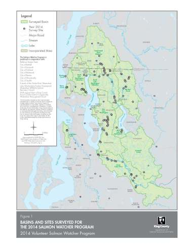 Salmon Watcher Distribution Map for 2014 // photo courtesy of King County Water and Land Resources Division