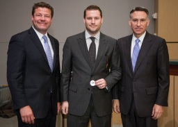 Steve Stamper (center) with King County Councilmember Reagan Dunn (left) and King County Executive Dow Constantine.