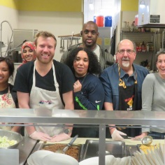 Pictured: DPD employees volunteered to prepare and serve dinner at a shelter in February 2016.
