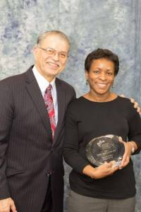 Fernando Martinez, Northwest Mountain MSDC President and CEO (left) poses with Sandy Hanks (right), recipient of the 2016 Public Agency of the Year Award for Martin Luther King County at the 2016 Northwest Mountain MSDC Annual Awards Dinner and Silent Auction on March 11, 2016 at the DoubleTree Suites Tukwila, WA. (Credit: Ricardo Ibarra for NW MTN MSDC)