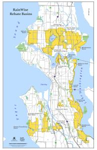 The yellow zones represent the current RainWise rebate eligible basin areas.