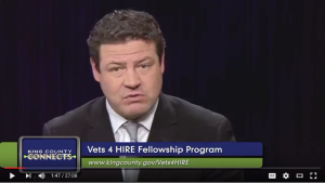 View the King County Connects Public Service Announcement focusing on the Vets 4 HIRE Program, featuring Councilmember Reagan Dunn and Army Veteran/ King County Employee Steve Stamper.