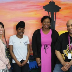 Pictured: ROYAL Program staff at a recent training. From left are Ericka Turley, project manager. Myeah Gibson, youth development lead, Jonisha Hall, case strategist and John Hairston, case strategist. Not pictured is Gregory Ban, case strategist.