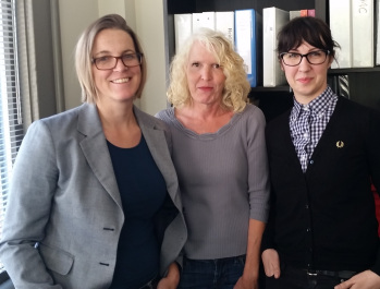 Pictured from left: Amy Parker, Bettye Witherspoon, and Molly Gilbert — the team that worked to clear Ezequiel Apolo-Albino's name