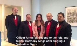 Officer Antonius, second to the left, and fellow Harmony Kings after singing a Valentine Gram.