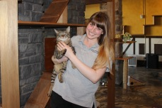 Nickie Ford, RASKC Animal Services Coordinator holds one of the cats.