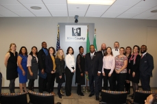 The entire Bridge cohort, featured with Debra Baker and Councilmember Gossett.