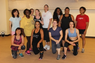 """""""From young people to grandmas struggling through cancer, relationships or other things, we're more than just a class at Gold's Gym or 24 Hour Fitness,"""" said Jessica., pictured here in the bottom row second from left. To her leftt is Tracey, and behind her is Charlotte."""