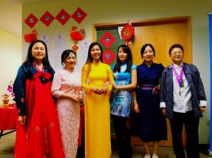 King County Elections staff Lunar Year Celebration, left to right, Kyung Jung (KC)-Korea, Signe Chan-China, Thanh Nguyen-Vietnam, Liwen Liu ( Lulu)-China, Jemi Kwon-Korea, Collen Kwan-