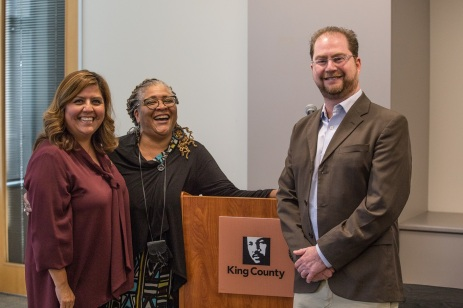 Pictured: From left Transportation Planner Penny Lara, Diversity and Inclusion Manager Anita Whitfield and Dr. Roberto Dondisch-Glowinski.