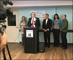 Valley Cities CEO Ken Taylor opens the media tour of the new Recovery Place Seattle.