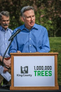 Pictured: King County Executive Constantine launched the effort to plant a million trees.