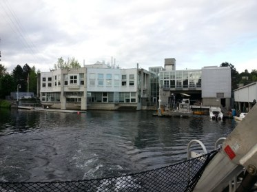 King County research vessel SoundGuardian heads out from the King County Environmental Lab, which is located on the south side of the Lake Washington Ship Canal near Seattle Pacific University.