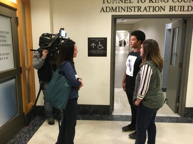 Pictured: Q13 News interviews Delontea and his new mom, Amanda.