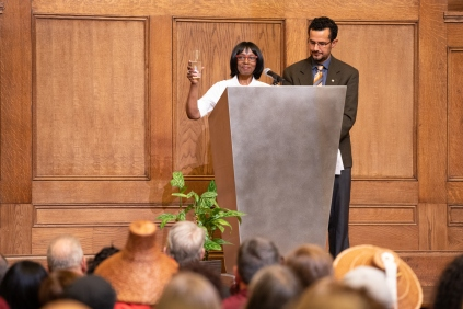 Pictured: Rose Dotson, Executive Assistant with the Department of Assessments and member of the Martin Luther King, Jr. Celebration Committee, and Matias Valenzuela Director of the King County Office Equity and Social Justice.
