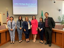 Pictured: From left to right, Claudia Gatica de Moreno with the Consulate of Guatemala, Clary Monzon with the Consulate of El Salvador, King County Metro Transit Transportation Planner Penny Lara, Yesenia Gomez with the Consulate of Honduras, Diana Oliveros Martinez with the Consulate of Mexico, and King County Director of Equity and Social Justice Matias Valenzuela.