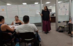Pictured: Kim Tippens facilitating the Community Steering Community session to develop a program plan in 2018.